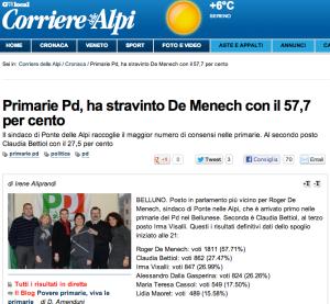 Dal Corriere delle Alpi online del 31 dicembre 2012.